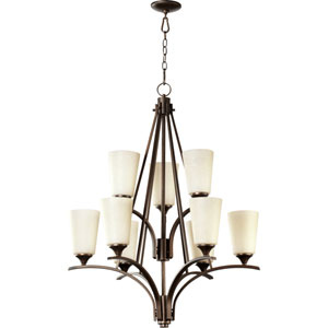 Winslet Ii Oiled Bronze 39-Inch Nine Light Chandelier with Linen Shade