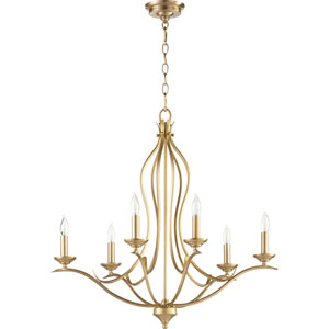 Flora Aged Brass Six-Light 27-Inch Chandelier
