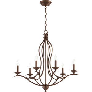 Flora Oiled Bronze Six-Light 27-Inch Chandelier