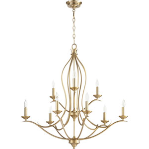 Flora Aged Brass Nine-Light 32-Inch Chandelier