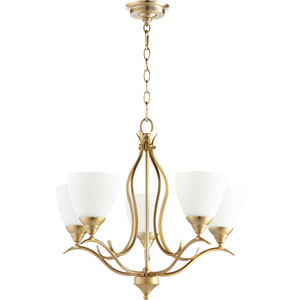 Flora Aged Brass Five-Light 22-Inch Chandelier