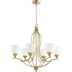 Flora Aged Brass Six-Light 29-Inch Chandelier