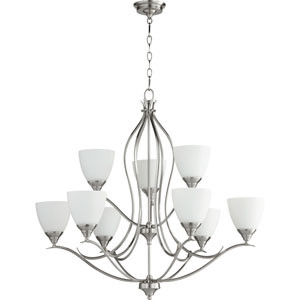 Flora Satin Nickel Nine-Light 29-Inch Chandelier