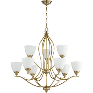 Flora Aged Brass Nine-Light 29-Inch Chandelier