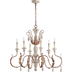 La Maison Manchester Grey and Rust Accents 30.5-Inch Six Light Chandelier