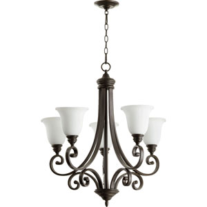 Bryant Oiled Bronze with Satin Opal Glass Five-Light Chandelier