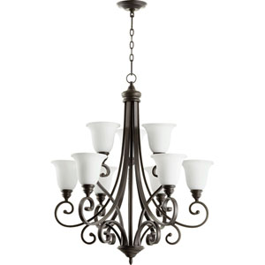 Bryant Oiled Bronze with Satin Opal Glass 31-Inch Nine-Light Chandelier
