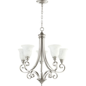Bryant Classic Nickel 30-Inch Five Light Chandelier with Faux Alabaster Glass