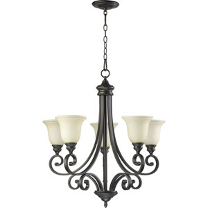 Bryant Five-Light Oiled Bronze with Antique Gold Chandelier
