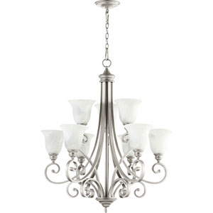Bryant Classic Nickel Nine Light Chandelier Faux Alabaster Glass