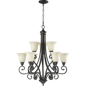 Bryant Nine-Light Oiled Bronze with Antique Gold Chandelier