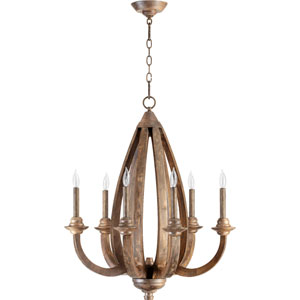 Telluride Early American 33-Inch Six Light Chandelier