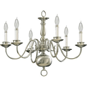 Six-Light Satin Nickel Chandelier