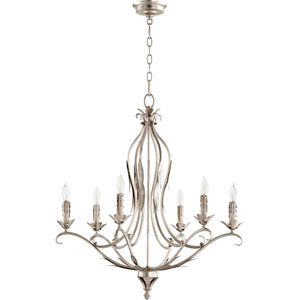 Flora Aged Silver Leaf 26-Inch Six-Light Chandelier