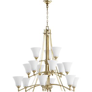 Aspen Aged Silver Leaf with Satin Opal 15-Light 40.5-Inch Chandelier
