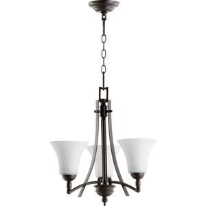 Aspen Oiled Bronze with Satin Opal Glass Three-Light Chandelier