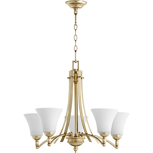 Aspen Aged Silver Leaf with Satin Opal Five-Light 27-Inch Chandelier