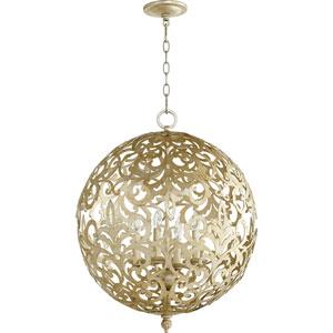 Le Monde Aged Silver Leaf 20-Inch Four-Light Globe Pendant