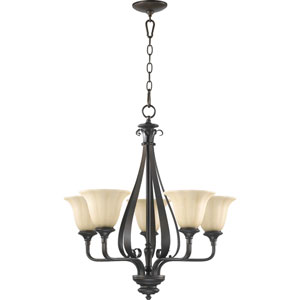 Randolph Five-Light Oiled Bronze with Antique Gold Chandelier