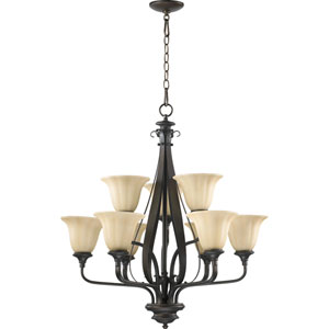 Randolph Nine-Light Oiled Bronze with Antique Gold Chandelier
