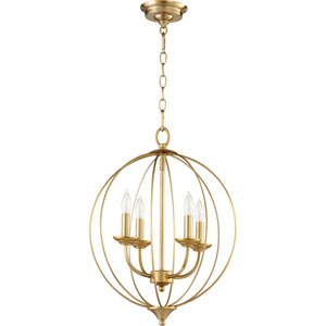 Flora Aged Brass Four-Light 15-Inch Pendant