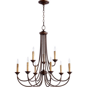 Brooks Oiled Bronze 29-Inch Nine-Light Chandelier
