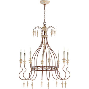 La Maison Manchester Grey with Rust Accents Eight-Light 35-Inch Chandelier