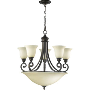 Bryant Five-Light Oiled Bronze with Antique Gold Center Bowl Chandelier