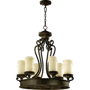 Alameda Six-Light Oiled Bronze with Antique Gold Chandelier