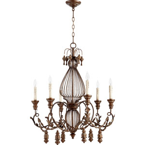 Salento Vintage Copper 28-Inch Six-Light Chandelier with Hanging Accents