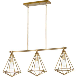 Bennett Aged Brass Three-Light Island Pendant