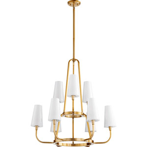 Highline Aged Brass Nine-Light Chandelier