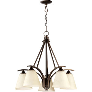 Winslet Ii Oiled Bronze 25.5-Inch Five Light Chandelier with Linen Shade