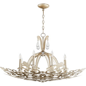 Charlton Aged Silver Leaf Eight-Light Chandelier