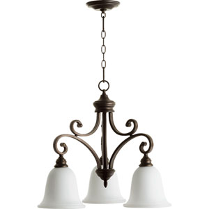 Bryant Oiled Bronze with Satin Opal Three-Light 25-Inch Chandelier