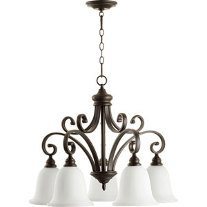 Bryant Oiled Bronze with Satin Opal Five-Light 30-Inch Chandelier