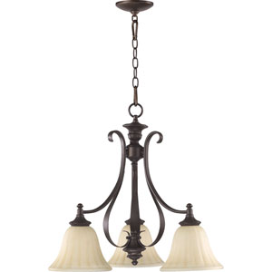 Randolph Three-Light Oiled Bronze with Antique Gold Chandelier