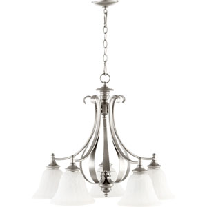 Randolph Classic Nickel 24-Inch Five Light Chandelier with With Faux Alabaster Glass