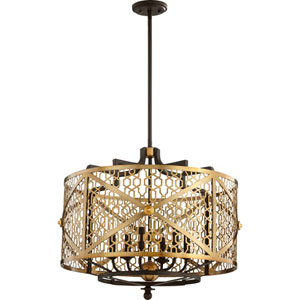 Renzo Aged Brass with Oiled Bronze Six-Light Pendant