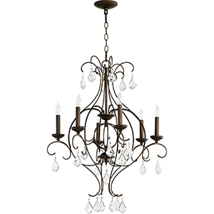 Ariel Vintage Copper Six-Light 25-Inch Chandelier