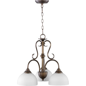 Powell Oiled Bronze with Satin Opal Three-Light 22-Inch Chandelier