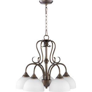 Powell Oiled Bronze with Satin Opal Five-Light 22-Inch Chandelier