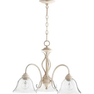Spencer Persian White with Clear Seeded Glass Three-Light 21-Inch Chandelier