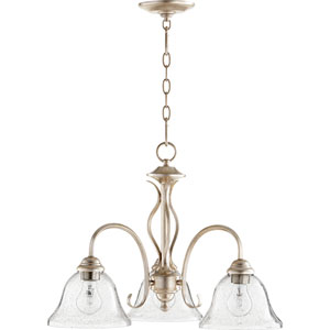 Spencer Aged Silver Leaf with Clear Seeded Glass Three-Light 21-Inch Chandelier