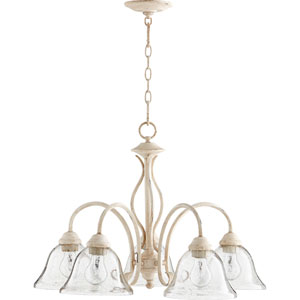 Spencer Persian White with Clear Seeded Glass Five-Light 24-Inch Chandelier