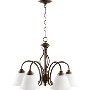 Spencer Oiled Bronze with Satin Opal Five-Light 24-Inch Chandelier