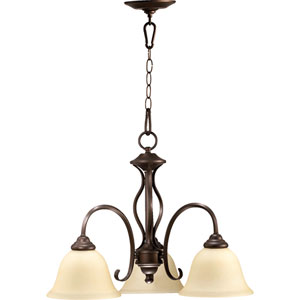 Spencer Oiled Bronze Three-Light Downlight Chandelier with Amber Scavo Glass