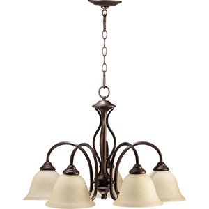 Spencer Oiled Bronze Five-Light Downlight Chandelier with Amber Scavo Glass