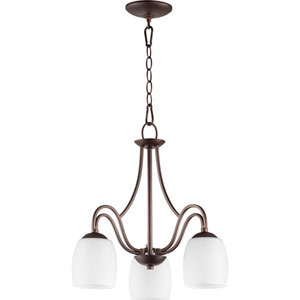 Willingham Oiled Bronze with Satin Opal Three-Light 18-Inch Chandelier