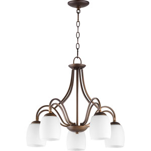 Willingham Oiled Bronze with Satin Opal Five-Light 23-Inch Chandelier